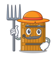 Farmer cartoon wooden door massive closed gate vector