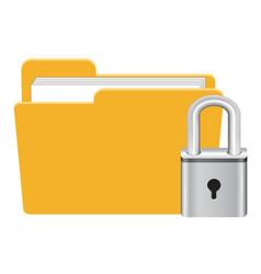 Folder with master key lock icon vector