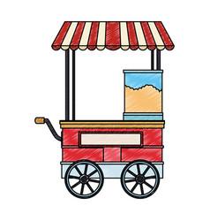 Food booth cart scribble vector