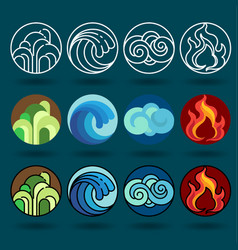 Four element icon set and vector