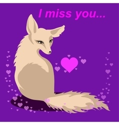 Fox in love with words Miss you vector