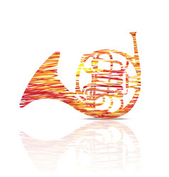 French horn music instrument colorful vector