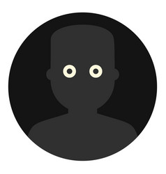 Frightened man in the darkness icon isolated vector