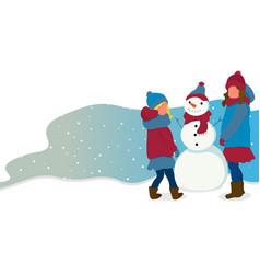 Girls with snowmen flat winter actives vector