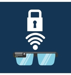 Glasses technology padlock application media vector