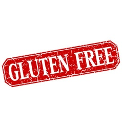 Gluten free red square vintage grunge isolated vector
