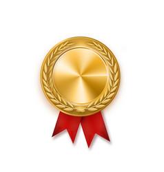 Gold medal with red ribbon metallic winner award vector