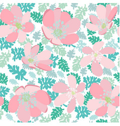 green leaves and pink flowers seamless pattern vector image