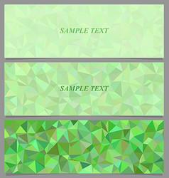 Green tiled triangle mosaic banner design set vector image
