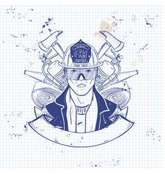 Hand drawn sketch fireman icon vector