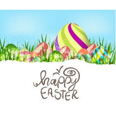 happy easter eggs spring background vector image