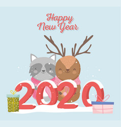 happy new year 2020 celebration reindeer raccoon vector image