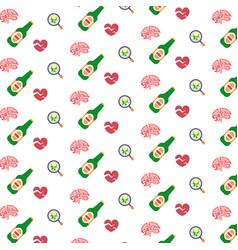 Headache migraine logo human brain cracks red vector
