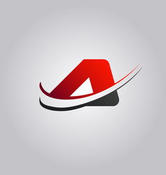 Initial a letter logo with swoosh colored red and vector