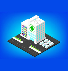 isometric hospital building with parking vector image