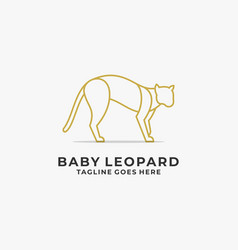 Logo baby leopard angry line art style vector