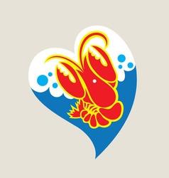 Love Lobster Logo design vector