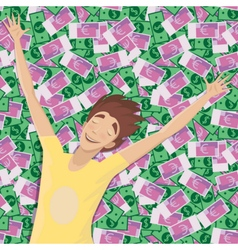 Man asleep on a pile of money vector