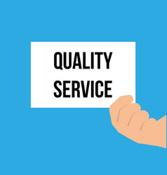 Man showing paper quality service text vector