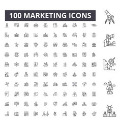 marketing editable line icons 100 set vector image