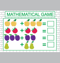 Mathematical task for children counting addition vector