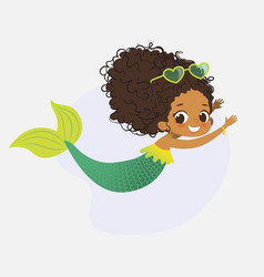 mermaid african character mythical cute girl nymph vector image