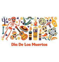 mexican symbols holiday or fiesta dia de los vector image