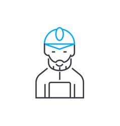 mine worker thin line stroke icon mine vector image