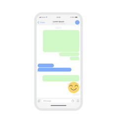Mobile chat app mockup vector