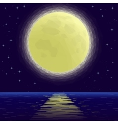 Moon Over Sea Low Poly vector image
