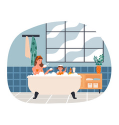 Mother is taking a bath with her daughter at home vector