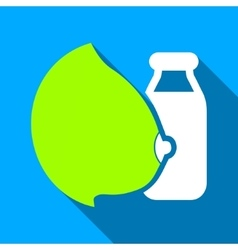 Mother Milk Bottle Flat Long Shadow Square Icon vector
