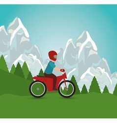 motorcycle man riding landscape design vector image