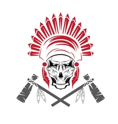 Native American chief skull in tribal headdress vector image