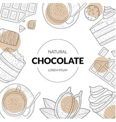 natural chocolate banner template with chocolate vector image