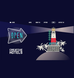 neon banner creative hotel open for visitors at vector image