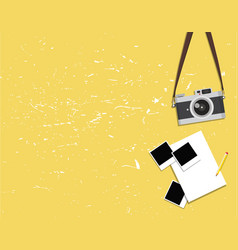 Old vintage camera and photos vector