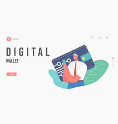 online payment service landing page template tiny vector image