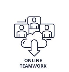 online teamwork line icon concept online teamwork vector image