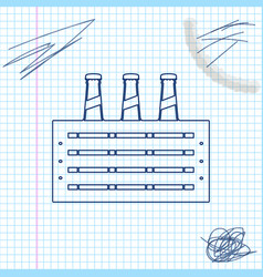 pack beer bottles line sketch icon isolated on vector image