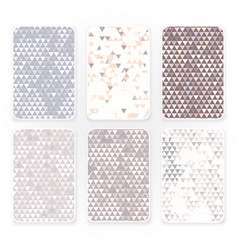 pastel color triangle pattern set with grunge vector image