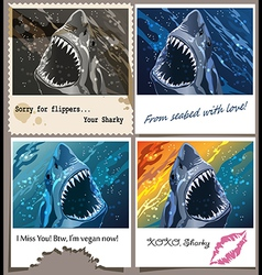postcard from sharky vector image vector image