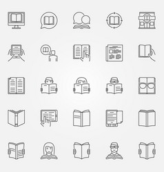 Reading icons set vector