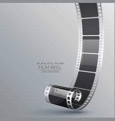 Realistic 3d film roll on gray background vector