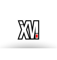 Red and black alphabet letter xm x m logo vector