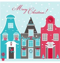 Retro Christmas Invitation Card - Christmas Houses vector