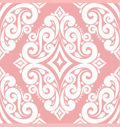 Royal pink and white ornamental seamless pattern vector