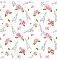 seamless pattern with eiffel tower and roses on vector image