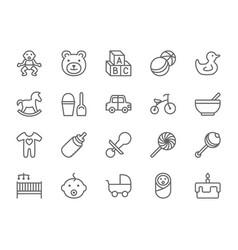 set baand childhood line icons toys vector image