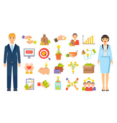 Set business icons making money crowdfunding vector